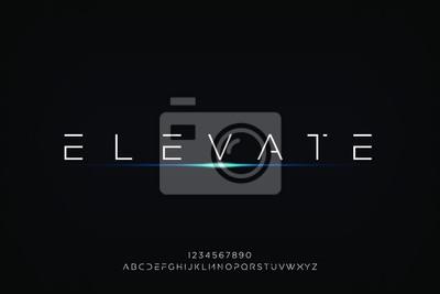 Fototapeta elevate. Abstract technology futuristic alphabet font. digital space typography vector illustration design
