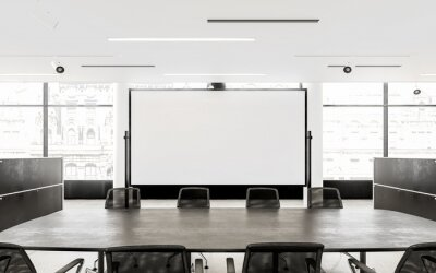 Fototapeta Empty Chairs And Conference Table In Board Room