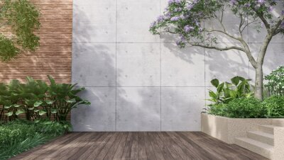 Fototapeta Empty exterior concrete wall with tropical style garden 3d render,decorate with tropical style tree ,sunlight on the wall