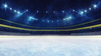 Fototapeta Empty ice rink and illuminated stadium with fans, playground view. Professional ice hockey sport 3D render illustration background.