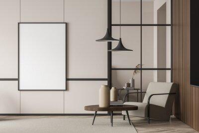Fototapeta Empty living room canvas near single beige armchair
