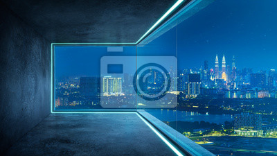 Fototapeta Empty loft unfurnished contemporary interior office with city skyline and buildings city from glass window .