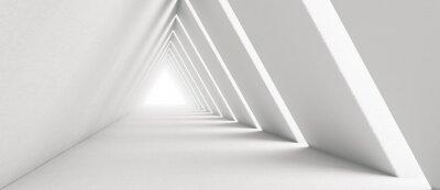 Fototapeta Empty Long Light Corridor. Modern white background. Futuristic Sci-Fi Triangle Tunnel. 3D Rendering