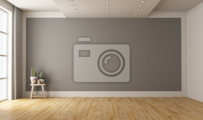 Fototapeta Empty minimalist room with gray wall on background