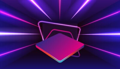 Fototapeta Empty neon stage for product replacement with futuristic rectangle blue and pink neon light background.