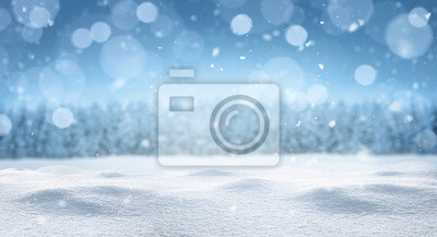 Fototapeta Empty panoramic winter background with copy space