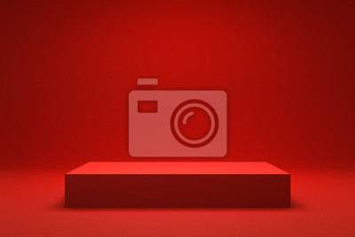 Fototapeta Empty Red background and stand display or shelf with studio for showing or design christmas concept. Blank backdrop made from cement material. Realistic 3D render.