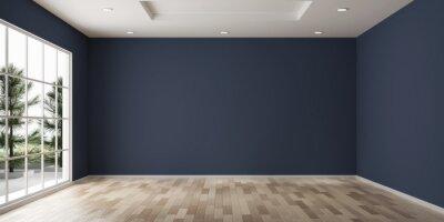 Fototapeta Empty room design copy space with the wooden floor 3d rendering