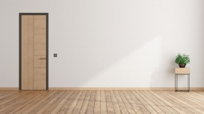Fototapeta Empty room with closed door and houseplant