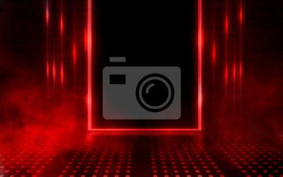 Fototapeta Empty scene background. Dark background of empty room, neon red light, concrete floor, smoke
