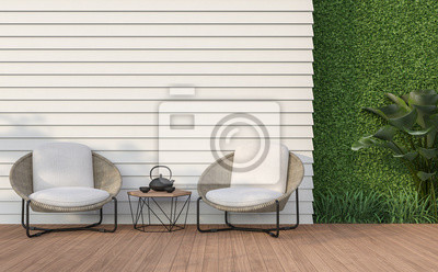 Fototapeta Empty wall exterior 3d render,There are white wood plank wall and wooden floor,decorate with rattan lounge chair, decorate wall with green plant.