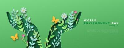 Fototapeta Environment Day green papercut hand web template