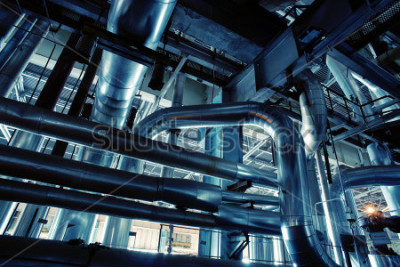 Fototapeta Equipment, cables and piping as found inside of a industrial power plant