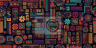 Fototapeta Ethnic handmade ornament, seamless pattern