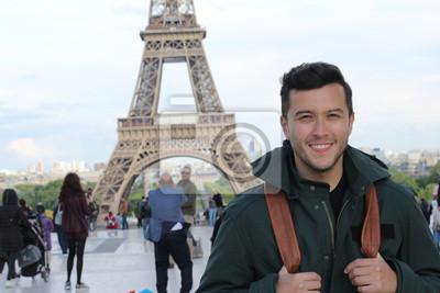 Fototapeta Ethnic tourist in the Eiffel Tower, Paris