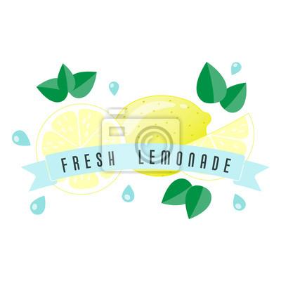 Etykieta owoców cytrusowych i banner - Lemoniada świeży. Ilustracji wektorowych.