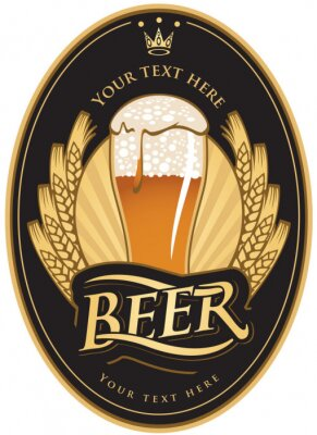 etykiety na piwie w czarnym kolorze złotym