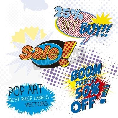 Fototapeta Etykiety Sprzedaż pop art, komiks onomatopeją
