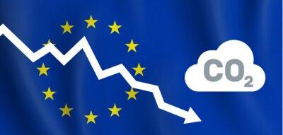Fototapeta EU reducing co2 carbon dioxide emission  graph down european union flag background vector illustration