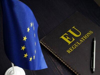 Fototapeta EU regulations and Europe Union flag.