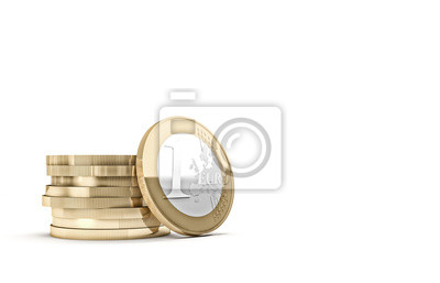 Fototapeta euro coin on white