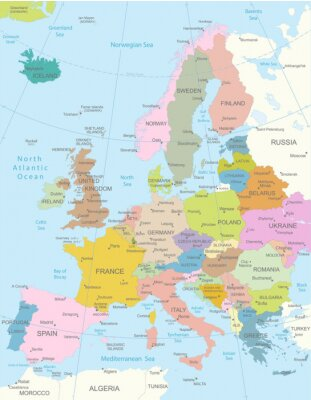 Fototapeta Europa-bardzo szczegółowe map.Layers używane.