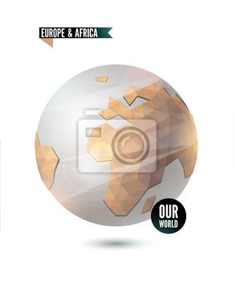 Europa i Afryka. Świat tło w stylu origami.