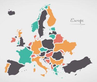 Fototapeta Europa kontynentalna Mapa z państwami i nowoczesnymi, okrągłymi kształtami