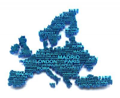 Fototapeta Europa mapa utworzona przez nazwiskami największych miastach