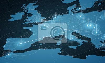 Fototapeta Europa niebieska mapa duża wizualizacja danych. Futurystyczna mapa infograficzna. Estetyka informacyjna. Złożoność danych wizualnych. Kompleksowa wizualizacja danych w Europie. Streszczenie danych na