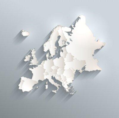 Fototapeta Europa polityczna mapa flaga 3d wektor oddzielić poszczególne państwa