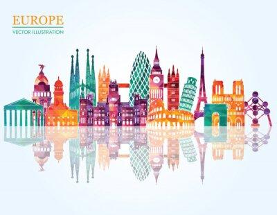 Fototapeta Europa skyline Szczegółowa sylwetka. ilustracji wektorowych