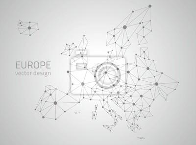 Fototapeta Europa wektora szare wielokątne mapie