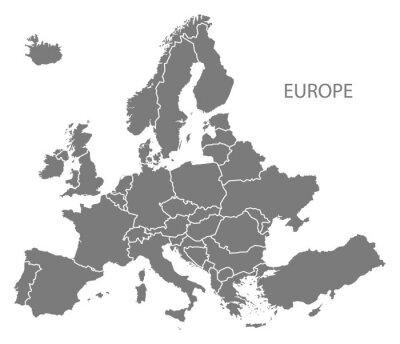 Fototapeta Europa z krajami mapie szare