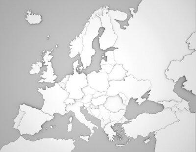 Fototapeta Europakarte mit 3D Ländergrenzen w szary / weiß