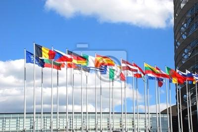 Fototapeta Europarlamentu. Flagi państw Unii Europejskiej