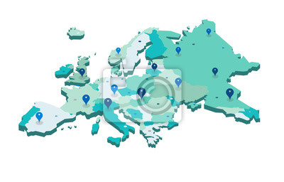 Fototapeta Europe 3d map with gps pins isolated on white background - Vector
