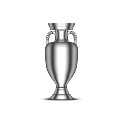 Fototapeta European Championship cup, football sports trophy realistic vector 3d model isolated on white background