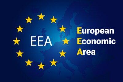Fototapeta European Economic Area - EEA. European Union flag and map of Europe. Vector background