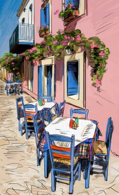 Fototapeta Europejska ilustracja kolor miasto ulica