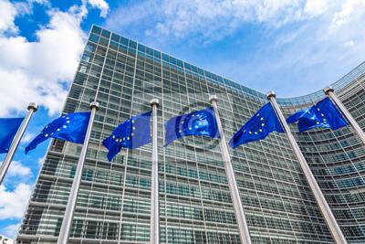 Fototapeta Europejskie flagi w Brukseli