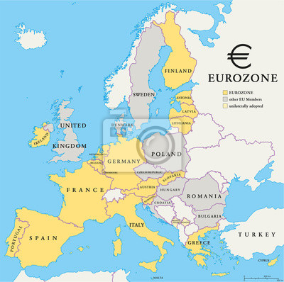 Fototapeta Eurozone Countries Map