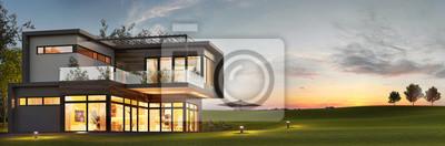Fototapeta Evening view of a luxurious modern house