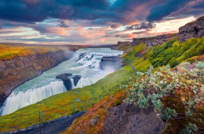 Fototapeta Exciting summer view of popular tourist destination - Gullfoss waterfall. Incredible sunrise on Hvita river. Spectacular morning scene of Iceland, Europe. Beauty of nature concept background..