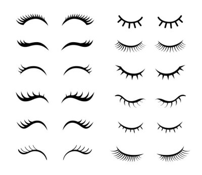 Fototapeta Eyelashes for girls simple vector illustrations set. Collection of mascara styles for makeup, closed girly eyes with beautiful lashes isolated on white background. Beauty, fashion, makeup concept