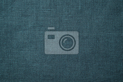 Fototapeta Fabric closeup. Dark green linen texture