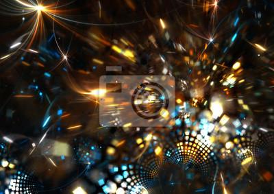 Fajerwerki na wakacje stron. Streszczenie jasne tło z mocą oświetlenia dla kreatywnego projektowania. Fantasy świąteczna dekoracja. Błyszczą piękny kolor wzoru na imprezę noc disco. sztuka fraktalna