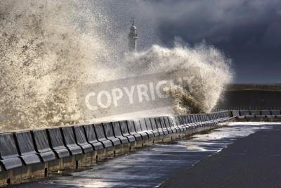 Fototapeta Fale zgniecenie bariery, Sunderland, Tyne and Wear, Anglia