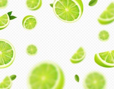 Fototapeta Falling lime fruit. Green slices of realistic lime, blurred motion on transparent background. Citrus fruits vector 3d illustration