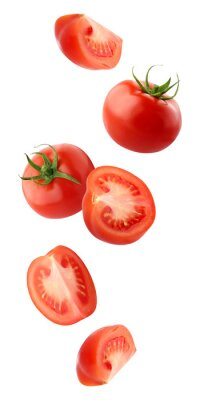 Fototapeta falling tomatoes isolated on a white background with a clipping path.